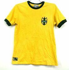 Athleta Mens Medium Short Sleeve Stitch Embroidered Jersey Style Yellow Shirt