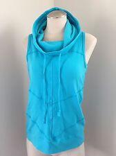 Nordstrom Pink Lotus Cowl Tie Neck Scoop Pull Over Sweatshirt Vest Bright Blue M