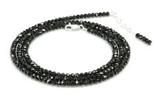"Black Spinel Necklace Sterling Silver 3.5 & 3 mm 30"" to 18"" Birthday Gift Sale"