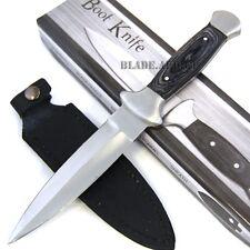 "9.5"" FULL TANG WOOD HANDLE BOOT KNIFE HUNTING MILITARY SURVIVAL DAGGER COMBAT"