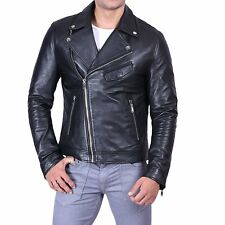 Mens Black Plain Asymmetrical Zipper Closure Biker Leather Jacket | All Sizes