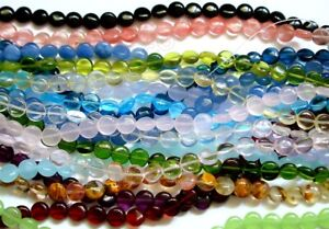 Semi Precious Stone, 8mm, 10mm, 12mm, 14mm Puff Coin Beads