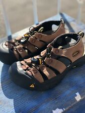 Brown & Yellow Leather Keen Slingback Waterproof Sandals Youth 6