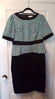 Per Una size 14 black green and white geo print dress with peplum