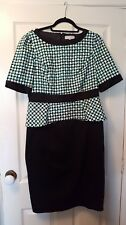 Per Una size 14 black green and white geo print dress with peplum