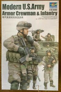 Trumpeter 1/35 424 Modern U S Army Armor Crewman & Infantry 1:35 Scale Model Kit