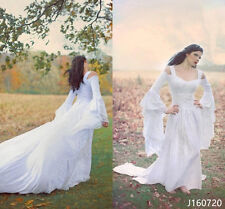 Medieval White Lace Butterfly Sleeves Wedding Dresses Formal Bridal Gowns Custom