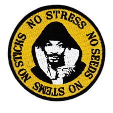 "Vintage Style Snoop Dogg Weed ""No Stress""  Hip Hip Rap DJ Shirt Patch Badge 9cm"