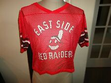 Vtg 80's Crop Mesh Football Red #90 Jersey East Side Red Raiders Indian Fits L