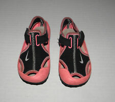 NIKE SUNRAY PINK & BLACK BEACH SAND SANDALS SHOES GIRLS 8 SUMMER
