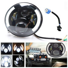 7'' Round DRL LED Headlight Hi/Low Beam Halo Angel Eye For Jeep Wrangler JK TJ