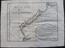 CARTE DE LA COSTE D'ANGOLA DEPUIS RIVIERE BENGO ...QUANZA , 1746 , OLD MAP