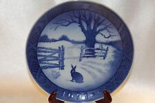 "Bing Grondahl Blue 1971 Annual Christmas Collector 7"" Plate Hare In Winter"