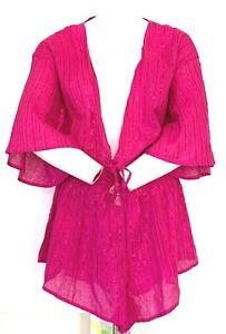Victorias Secret Shine Metallic Stripe Romper Lingerie Cover-Up Hot Pink L