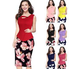 Womens Summer Elegant Slim Wear to Work Office OL Bodycon Casual Pencil Dress