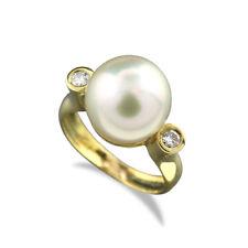 Ring feine weiße bis leicht silbergraue Südseeperle 12mm Brillanten 750-Gelbgold