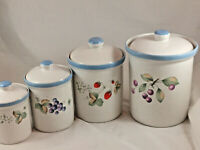 Savoir Vivre Luscious JJ017 Canister Set 4 Piece Set Fruit Design- Cream/Blue