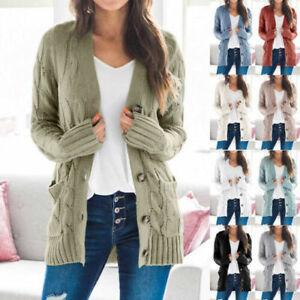 Womens Ladies V Neck Long Sleeve Knitted Cardigan Tops Sweater Coat Jacket UK
