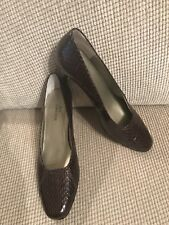 Womens ROS Hommerson Chocolate Brown Leather Snakeskin Pumps Size 7M