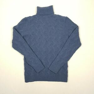 MASSIMO DUTTI Womens Roll Neck Jumper S Blue Long Sleeve Cable Knit Wool Yak