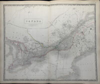 1846 Canada Large Hand Coloured Antique Map from Johnston's National Atlas