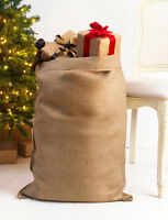 PERSONALISED CHRISTMAS SANTA SACK XL EXTRA LARGE HESSIAN TRADITIONAL STOCKING v4