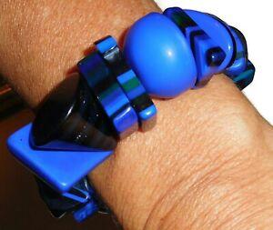 Sobral Aventuras Indiana Royal Blue Mix Chunky Bead Artist Made Stretch Bracelet