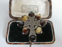 VINTAGE MIRACLE CELTIC SCOTTISH WELSH IRISH POLISHED AGATE BROOCH KILT PIN