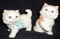 HOMCO CAT FIGURINES  HOMCO #1428 PAIR  CERAMIC  WITH BOWS