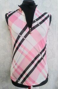 SAN SOLEIL Women's XS Sleeveless 1/4 Zip UPF 50 PINK Plaid Golf Shirt EUC