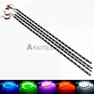 "4x NEW Waterproof 60cm/24"" LED Strips Slim Flexible Light Car Truck Motors 12V"