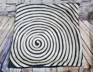 """Pier 1 Beige and Black Sateen Zippered Throw Pillow Case Cove 16"""" Square Spiral"""
