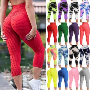 Women Anti-Cellulite High Waist Yoga Pants Tie-dye Leggings Bottocks Trousers IA