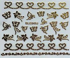 Nail Art 3D Decal Stickers Gold Hearts & Butterflies BLE049J