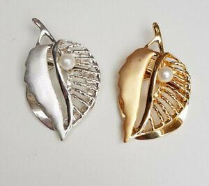 Schalbrosche Tuchhalter Blatt 5 cm Farbwahl gold-/silberfarben Mode-Perle