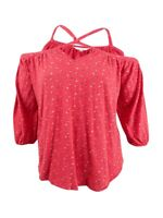 Lucky Brand Women's Trendy Plus Size Off-The-Shoulder Blouse (1X, Coral Multi)