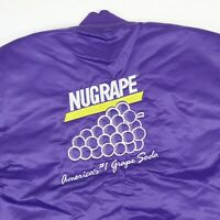 Vtg NUGRAPE Soda Satin Bomber Jacket 2XL Purple USA Made 90s Deadstock NOS