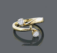 Anillo De Diamantes 14 K 14 Oro Amarillo 0.35 Quilates Brillantes Certificado