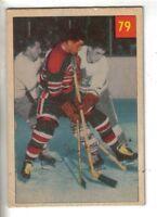 1954-55 Parkhurst Hockey Premium Card #79 Lou Jankowski Chicago Black Hawks EX.