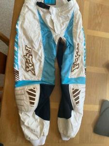 Women's FOX Racing 180 Pants Size 9/10 Motocross ATV white, teal, brown