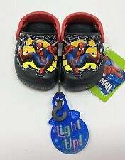 CROCS Funlab Light Up Spiderman Clogs Toddler Size 5, 7 NEW >> RARE