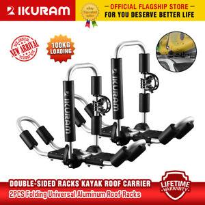 IKURAM 2 bilateral kayaks roof racks Carrier canoe ski holder Folding Universal
