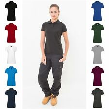 Womens Plain Work Wear Polo Shirt Pique Uniform Sports Team Top 8-22 10 Colours