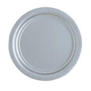 Silver 23cm Paper Party Dinner Plates Celebration Anniversary 1-48pk
