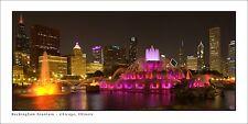 Poster Panorama Chicago Illinois Skyline Buckingham Fountain Night Panoramic
