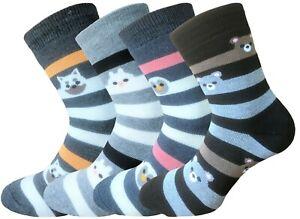 Thermossocken Damen Ringelsocken 4 Paar warme Socken Frotteesocken Wintersocke