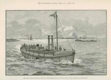 1890-ANTIQUE PRINT vapeur LIFE BOAT duc de Northumberland ACIER HYDRAULIQUE (023)
