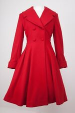 Ladies Tailored 1940s/50s Vintage Swing Style Winter Coat in RED 6-26
