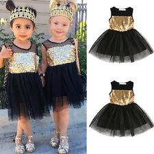 Kids Girls Children Dresses Sleeveless Sequins Bow Wedding Princess Party Dress
