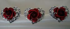 Bridal, Proms* Rose in diamante heart hair pin x 3